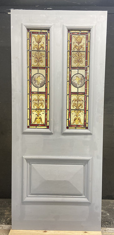 VICTORIAN STAINED HAND PAINTED GLASS FRONT DOOR RECLAIMED ANTIQUE PERIOD LEAD