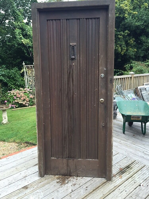 SOLID OAK FRONT DOOR FRAME ANTIQUE PERIOD OLD 1900 WOODEN RECLAIMED RARE FLUTED