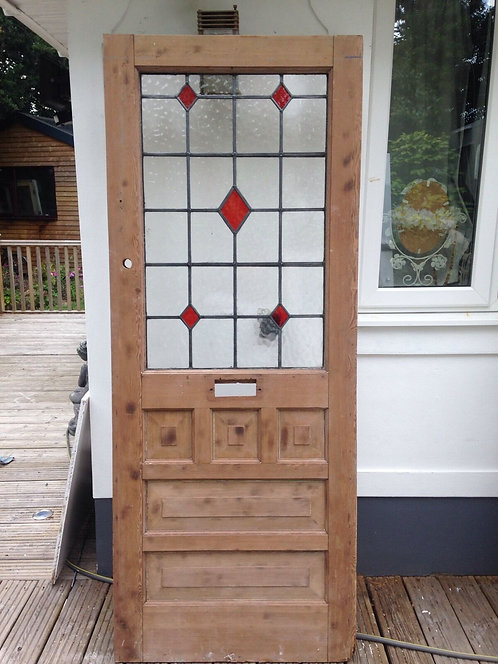 REBUILT STAINED GLASS FRONT DOOR WOOD RECLAIMED OLD PERIOD LEADED 1930s STRIPPED