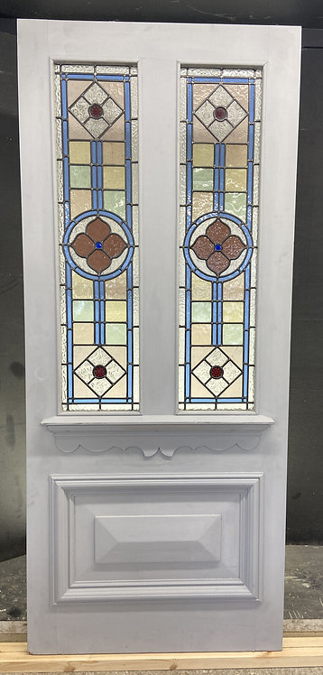LARGE VICTORIAN STAINED GLASS FRONT DOOR OLD RECLAIMED ANTIQUE GLASS PERIOD LEAD