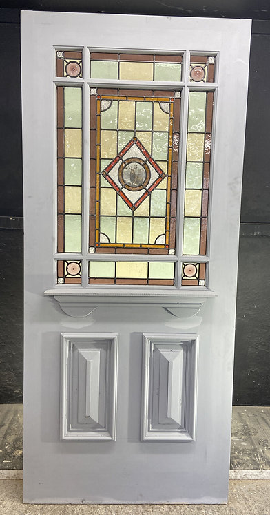 LARGE VICTORIAN STAINED GLASS FRONT DOOR OLD RECLAIMED ANTIQUE FIRED PERIOD LEAD