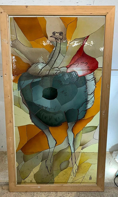 V LARGE STAINED GLASS WINDOW PANEL OSTRICH HAND PAINTED ANIMAL THEME ARTISAN