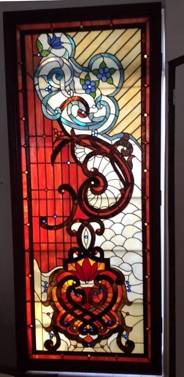 HUGE OLD TIFFANY STAINED GLASS WINDOW PANEL ARCHITECTURAL ANTIQUE PERIOD ARTISAN