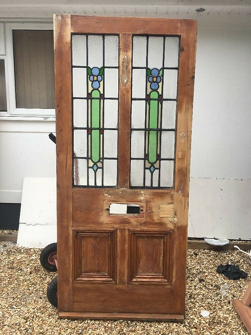 WIDE VICTORIAN STAINED GLASS FRONT DOOR PINEWOOD RECLAIMED OLD PERIOD ANTIQUE