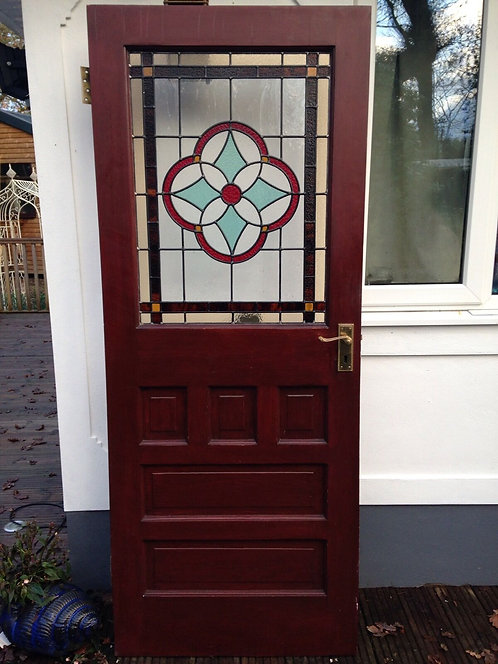 STAINED GLASS FRONT DOOR 1930s WOOD RECLAIMED EXTERNAL ANTIQUE OLD LEADED
