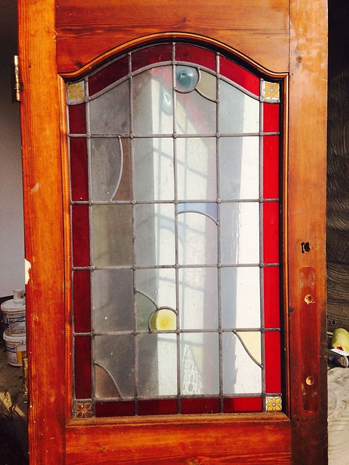 STAINED GLASS FRONT DOOR PERIOD WOOD SOLID PINE RECLAIMED ANTIQUE LEADED