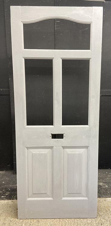 EDWARDIAN FRONT DOOR PERIOD OLD RECLAIMED ANTIQUE WOOD UNGLAZED REFURBISHED