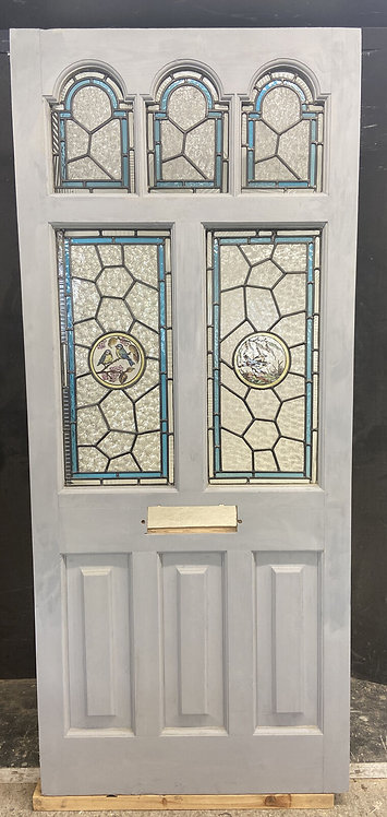 LARGE EDWARDIAN FRONT DOOR PERIOD STAINED GLASS OLD RECLAIMED ANTIQUE WOOD LEAD
