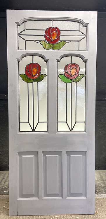 EDWARDIAN FRONT DOOR PERIOD STAINED GLASS OLD RECLAIMED ANTIQUE WOOD LEAD REFURB