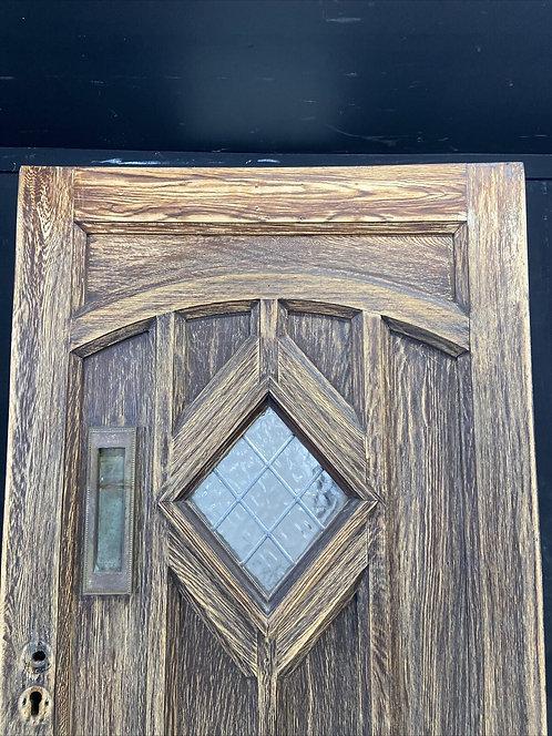 SOLID OAK FRONT DOOR OLD PERIOD WOOD ANTIQUE RECLAIMED HARDWOOD GLAZED LEADED