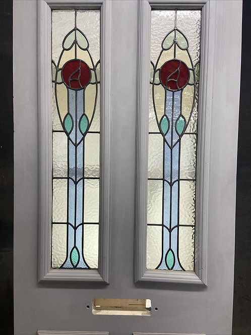 VICTORIAN STAINED GLASS FRONT DOOR RECLAIMED ANTIQUE PERIOD LEADED WOOD REFURB