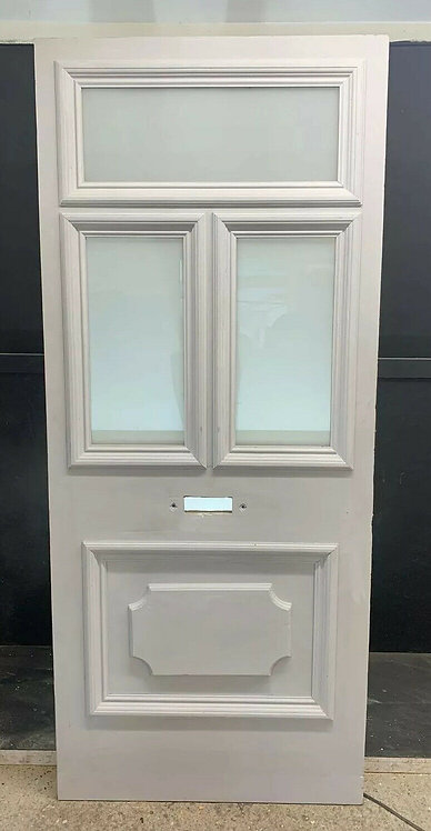 LARGE VICTORIAN FRONT DOOR PERIOD OLD RECLAIMED ANTIQUE REBUILT WOOD PINE GLAZED