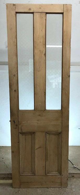 NARROW VICTORIAN VESTIBULE DOOR PORCH PERIOD OLD RECLAIMED ANTIQUE PINE ETCHED