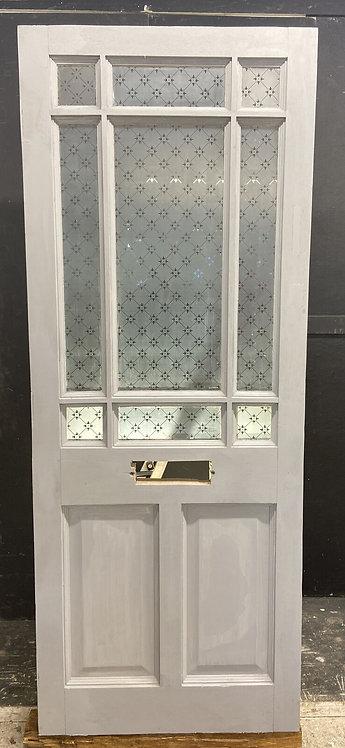 VICTORIAN ETCHED GLASS FRONT DOOR RECLAIMED ANTIQUE PERIOD HARDWOOD OLD REFURB