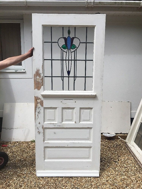 LARGE STAINED GLASS FRONT DOOR ART DECO WOOD RECLAIMED OLD PERIOD LEAD ANTIQUE
