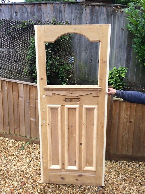 VICTORIAN FRONT DOOR WOODEN RECLAIMED PERIOD OLD EDWARDIAN REPAIRED STRIPPED.