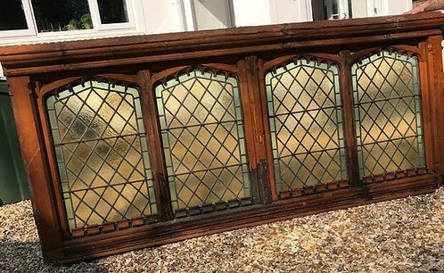 V LARGE STAINED GLASS WINDOW GOTHIC ARCHITECTURAL ANTIQUE PERIOD LEAD OLD RECLAI