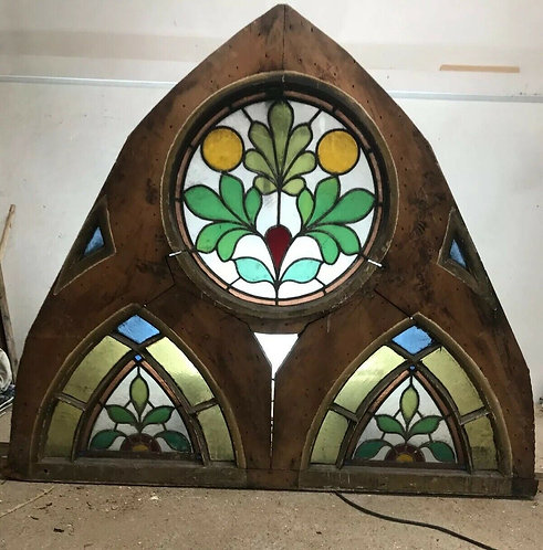 ANTIQUE TUDOR CHURCH STAINED GLASS WINDOW OLD ARCH PERIOD RARE 17th CENTURY WOOD