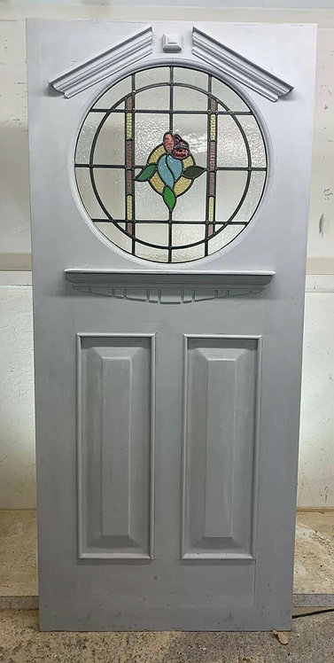 X LARGE ART DECO STAINED GLASS FRONT DOOR PERIOD OLD RECLAIMED ANTIQUE REBUILT