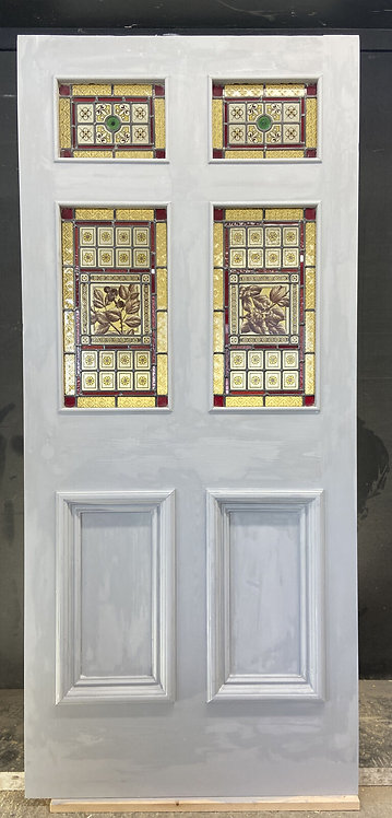 RARE VICTORIAN HAND PAINTED STAINED GLASS FRONT DOOR RECLAIMED ANTIQUE PERIOD