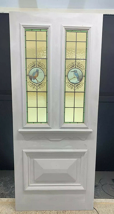LARGE VICTORIAN STAINED GLASS FRONT DOOR PERIOD OLD RECLAIMED ANTIQUE REBUILT