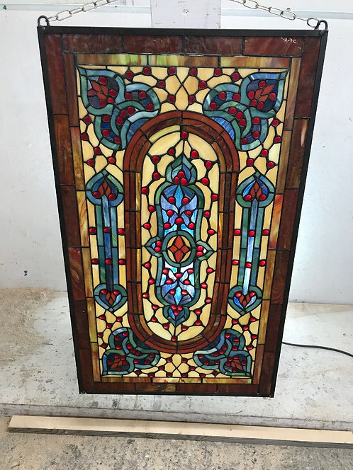 ANTIQUE TIFFANY STAINED GLASS WINDOW PANEL WALL FEATURE BRASS LEAD PERIOD 1930s