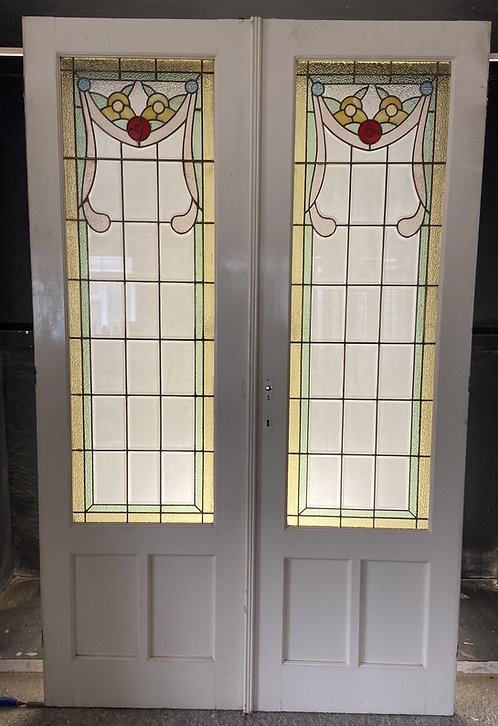 RARE BRONZE ART NOUVEAU STAINED GLASS FRENCH DOORS OLD ANTIQUE PERIOD RECLAIMED