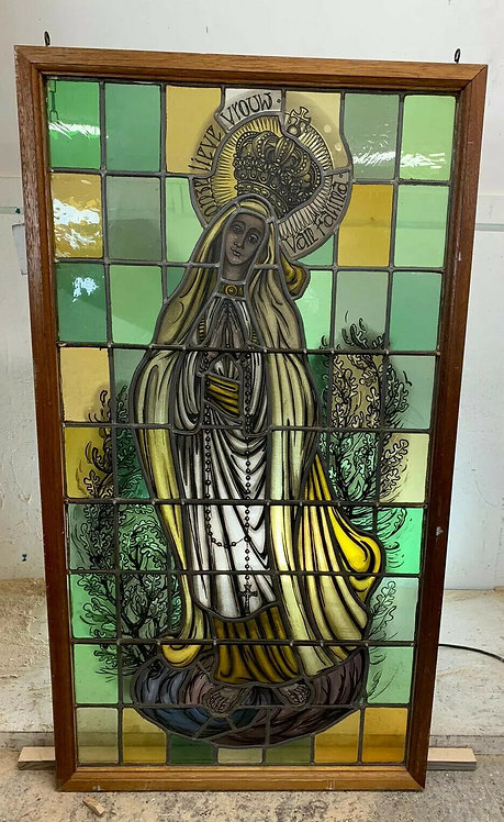 LARGE STAINED GLASS HAND PAINTED WINDOW PANEL PERIOD OLD ECCLESIASTICAL ANTIQUE