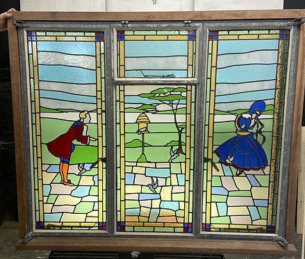 LARGE STAINED GLASS WINDOW PANEL ARCHITECTURAL ANTIQUE PERIOD VICTORIAN CRITTLE