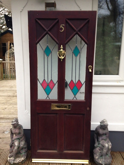 1930s FRONT DOOR COLOURED LEAD LITE GLASS PERIOD WOOD ART DECO GLAZED EXTERNAL