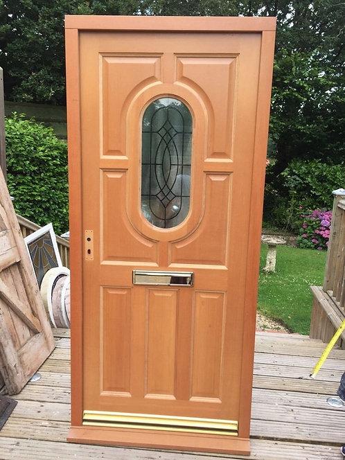 BESPOKE JOINER ART NOUVEAU FRONT DOOR+FRAME SET ANTIQUE PERIOD HARD WOOD GLAZED