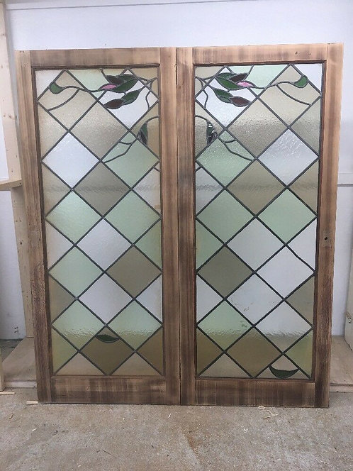 STAINED GLASS DOORS ANTIQUE PERIOD RECLAIMED FRENCH DOUBLE LEAD LATTICE WOOD
