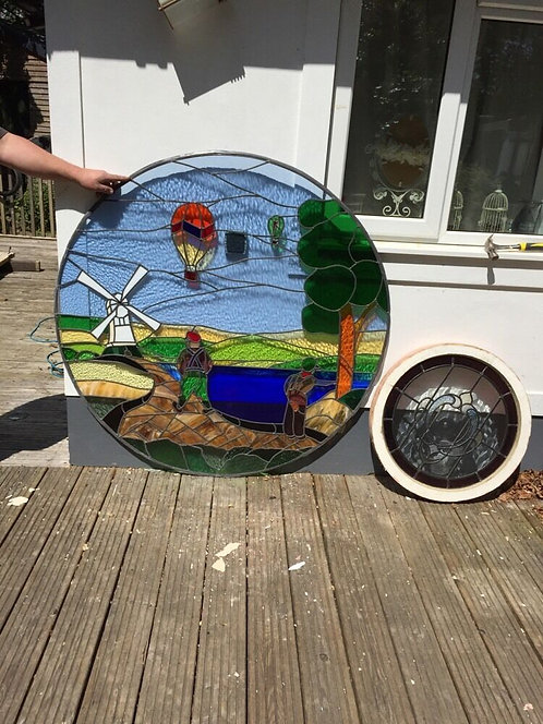 HUGE LARGE DUTCH STAINED GLASS WINDOW ROUND PORTHOLE RECLAIMED ANTIQUE LEADED