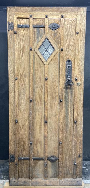 LARGE SOLID OAK FRONT DOOR OLD PERIOD WOOD ANTIQUE RECLAIMED HARDWOOD LEADED