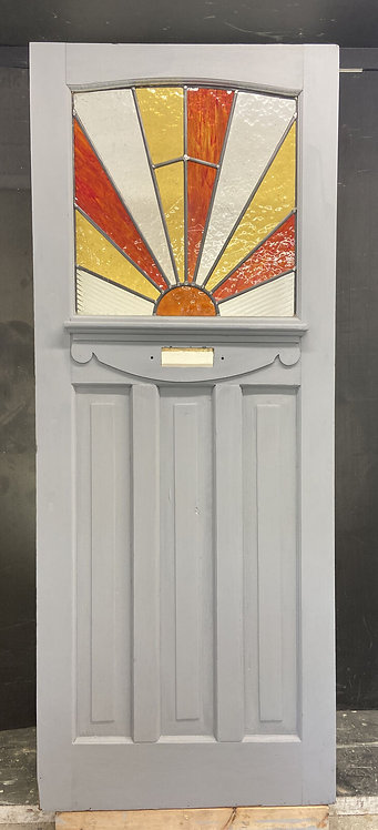 ART DECO 20s 30s STAINED GLASS FRONT DOOR ANTIQUE PERIOD RECLAIMED OLD ANTIQUE