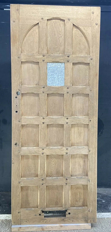 SOLID OAK FRONT DOOR OLD PERIOD WOOD ANTIQUE RECLAIMED HARDWOOD ARTS CRAFTS 1890