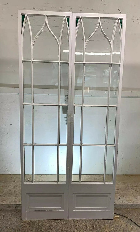 VERY RARE FRENCH DOORS OLD ANTIQUE PERIOD RECLAIMED GLASS SET 1800s PINE WOOD