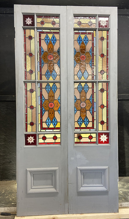 SET HAND PAINTED STAINED GLASS FRENCH DOORS PERIOD OLD RECLAIMED ANTIQUE RARE