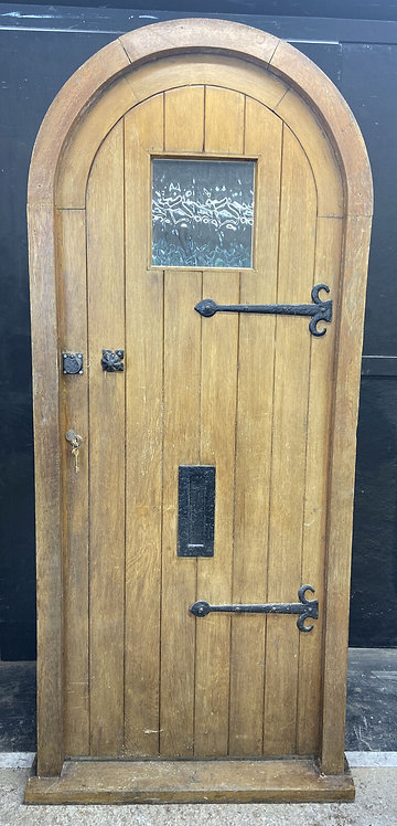 SOLID OAK FRONT DOOR +ARCHED FRAME OLD PERIOD WOOD ANTIQUE RECLAIMED SALVAGE