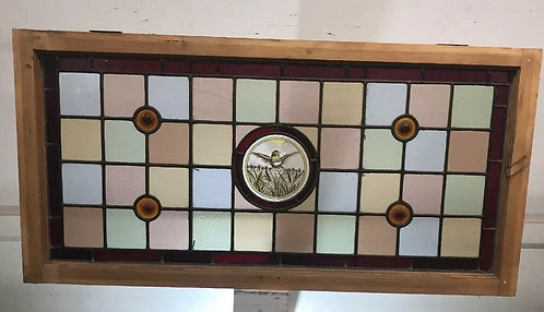 LARGE STAINED GLASS FRONT DOOR FANLIGHT OVERDOOR PANEL PERIOD WINDOW ANTIQUE OLD