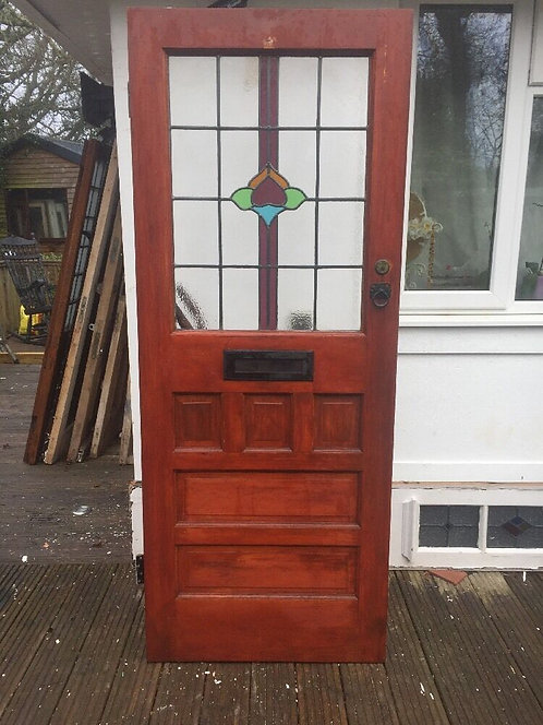 STAINED GLASS FRONT DOOR WOODEN RECLAIMED PERIOD OLD LEADED ART DECO 20s 30s
