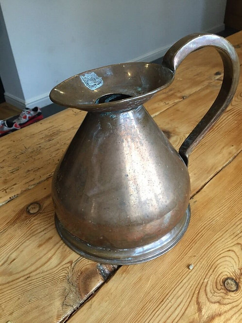 1/2 GALLON ENGLISH COPPER ALE JUG PITCHER ANTIQUE PERIOD OLD METAL WHISKEY JAR