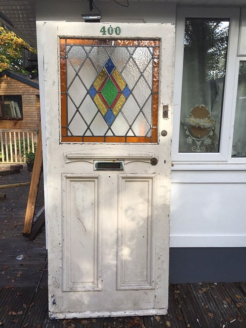 LARGE STAINED GLASS FRONT DOOR ART DECO WOOD 1930s RECLAIMED OLD PERIOD LEADED.