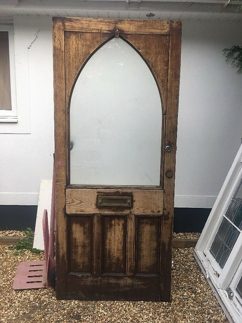 LARGE SOLID OAK FRONT DOOR ANTIQUE PERIOD OLD RECLAIMED HARDWOOD ARCHED RARE