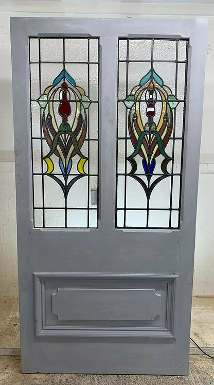 GRAND ARTS & CRAFTS STAINED GLASS FRONT DOOR PERIOD OLD RECLAIMED ANTIQUE C1895