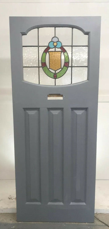 EDWARDIAN STAINED GLASS FRONT DOOR OLD PERIOD RECLAIMED WOOD ANTIQUE LEAD PINE