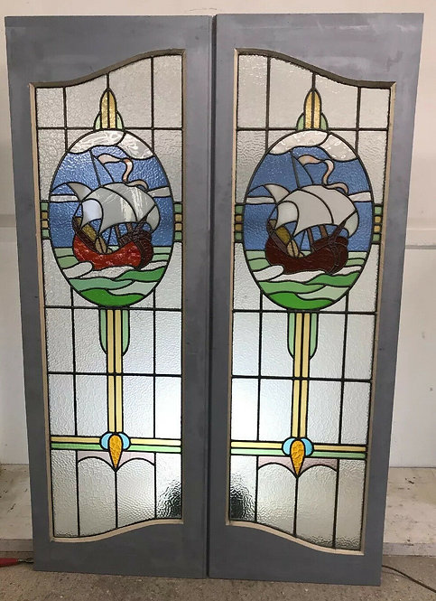 ART NOUVEAU STAINED GLASS DOORS ANTIQUE PERIOD RECLAIMED OLD FRENCH DOUBLE LEAD