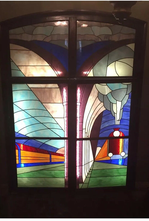 LARGE ART DECO STAINED GLASS WINDOW ANTIQUE PERIOD RECLAIMED RAILWAY TRAINS PUB
