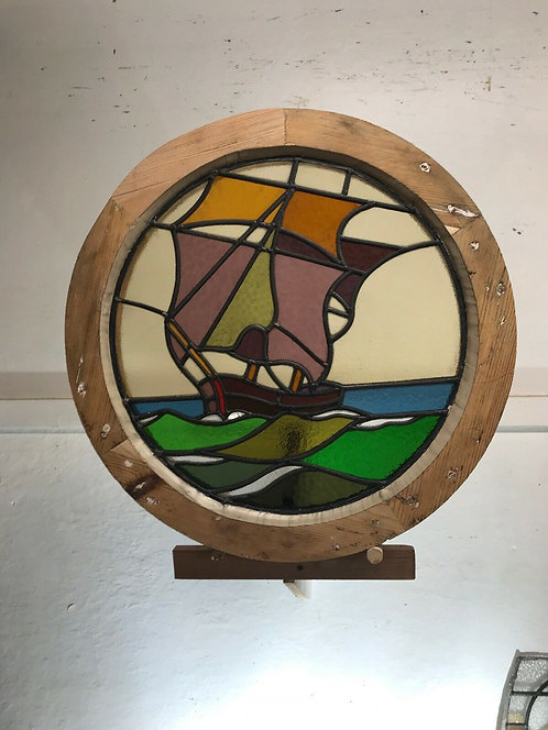 L NAUTICAL ROUND PORTHOLE STAINED GLASS WINDOW WOOD PERIOD OLD RECLAIMED LEADED