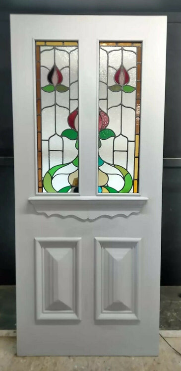 LARGE VICTORIAN STAINED GLASS FRONT DOOR PERIOD OLD RECLAIMED ANTIQUE PINE WOOD